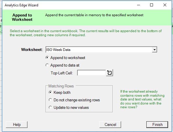 Iso Week Reporting Analytics Edge Help. Since The Repeat Macro Clears It When Starts Worksheet Will Be Left With All Of New Query Results Appended To Each Other. Worksheet. Worksheet Creator Matching At Mspartners.co